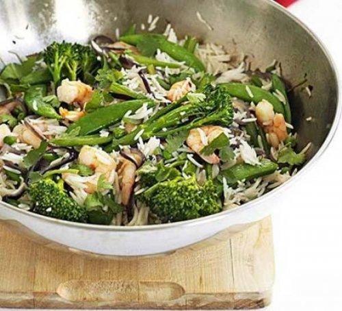 Wok de arroz con gambas